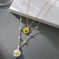 Gold Layered Flower Pendant Necklace Women Bohemian Small Daisy Pearl Chain Collar Female 2021 BOHO Jewelry Gifts Necklaces