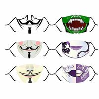 Party Masks 50pcs Adults Kids Horror Ghost Anime Halloween Face 3D Printed Cotton Washable Reusable Mouth Cover With PM2.5 Filter FY9182 32PE