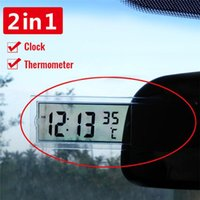 Interior Decorations 2 In 1 Automobile Car Clock Thermometer Sucker Type Transparent LCD Digital Watch 10 Button Cell Battery Opera