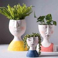 Art Portrait de fleur de fleur Vase Sculpture Sculpture Résine Visage humain Famille Pot Famille Madmade Garden Stockage Arrangement de fleurs Décors 210401