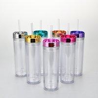 16oz canecas de palha plástica canecas de plataforma dupla copo reto Água transparente rosa ouro galvanoplate lid simplicidade simplicidade skinny 16 63mg Q2
