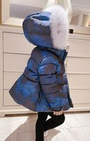 Winter Kids Girls Down Jacket With Big Fur Sweet Girl Thicken Coat Parka Clothing Baby Children's Warm Snow Outerwear Clothes