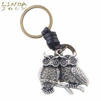 Lindajoux أزياء جلد طبيعي سلاسل مفتاح سيارة قلادة سبائك مزدوجة البومة سلسلة المفاتيح خواتم للرجال النساء الملحقات