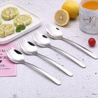 2 in 1 Frucht Dessert Gabel Löffel Hohe Qualität Edelstahl Salat Löffel Gabelbesteck Große Größe für Familie GGA4581