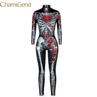 Chamsgend Frauen Vintage Skeleton Rose drucken Scary Kostüm Schwarz Skinny Jumpsuit Bodysuit Halloween Cosplay Anzug # 07241