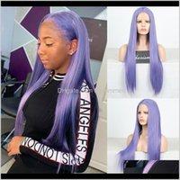 제품 드롭 배달 2021 보라색 가발 긴 부드러운 스트레이트 합성 전선 내열성 머리카락 흑인 여성 C0PPE에 대한 딱지없는 레이스 가발