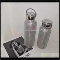 Botellas Diamante Vacío Frasco Bling Agua Acero Inoxidable Termos Sparkling Gran Botella Aislada Taza 201110 cm4s 56bin