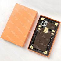 Top Designer Telefon Hüllen für iPhone 12 Mini 11 PRO MAX XS XR 7/8 PLUS 13 PU-Leder Mode braun Blumendruckabdeckung Airpods Fall mit Kastenschale