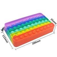 Kreatives neues Zappel-Spielzeug Silikon-Push-Pop-Bleistift-Hülle rechteckige Presseblase Dekompressionsstudie Schreibwaren Aufbewahrungstasche