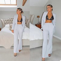 Summer Light Grey Mother of the Bride Suits Slim Fit V Neck Formal Office Lady Wide Pants Suit Prom Party Wedding (Jacket+Pants)