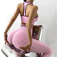 OMBRE sin costura 2 piezas Set Mujeres Traje Gimnasio Entrenamiento Ropa Deporte Sujetador Bra Fitness Cult Top and Scrunch Butt Leggings Yoga 210909