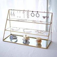 フックレールインノルディックスタイルの真鍮ガラス3層ジュエリーフレームブレスレットイヤリング収納ディスプレイのためのドレッシングルームの寝室