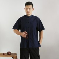 Chemises occasionnelles pour hommes 100% coton pour hommes manches courtes TANG TOP TOP Homme Tai Chi Chemise Uniforme Chemisier Traditionnelle Chinoise Vêtements X7F5