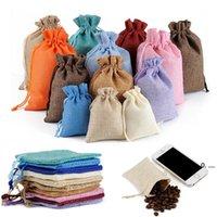 Neweco-friendly mini tela da imballaggio juta di tela di tela in lino borse con coulisse borse gioielli sacchetti borse regalo di Natale borse da imballaggio EWE7683