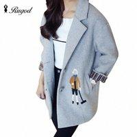 Rugod 2018 printemps hiver hiver manteau de laine femelle doux dessin animé broderie coton rembourré doublure manteau femme veste casaco féminino f2ui #