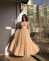 2021 Modest Champagne A Line Tulle Prom Dresses Sparkly Long Sleeves Sheer Scoop Neck Ankle Length Formal Evening Gowns