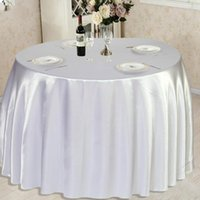 Table Cloth 1pcs White Black Pink Satin Tablecloth Solid Color For Wedding Birthday Party Cover Round Home Decoration