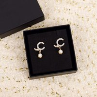 Top quality stud earring with diamond and nature pearl beads for women engagement in 18k gold plated have box stamp PS3717