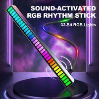 Coche Activado por voz Rhythm Light Stick de 32 bits RGB Audio Spectrum Bar Pickup Ambient DJ LED Pantalla Escritorio Rhythm Pulse Luces de señal de colores