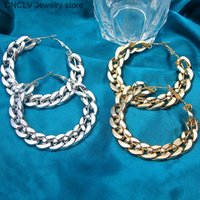 BYNOUCK Twisted Gold Silver Color Chain Hoop Earrings For Wo...