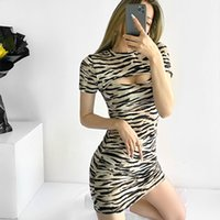 Yaz Kadın Zebra Çizgili Sıkı Elbise Kısa Elbiseler Chic Lady Moda Rahat Giysiler Oymak 210517