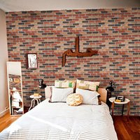 Fashion Red Brick Sticker Natural Stripe Self- adhesive Wallp...