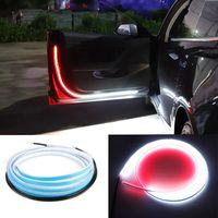 자동차 도어 환영 빛 스트립 스타일링 자동 스트로브 깜박이 주변 대기 조명 안전 12V LED 오프닝 경고 램프