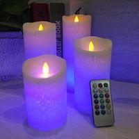 Светодиодные блокированные свечи колонны с удаленным таймером Luminara мерцание движущихся фитиль домашний декор XHH21-151