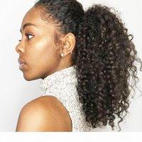 Kinky Curly Hair 1 pc 120g Ponytail Cabeleireiro 14-24inch Alta Moda Moda Remy Cabelo Humano Clipe De Rabos