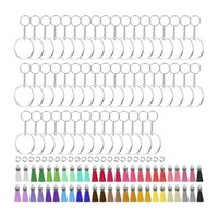 Keychains Acrylic Blank Keychains,200Pcs Keychain Blanks With Blanks,Tassels,Key Rings And Jump DIY Set For Crafting