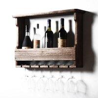 السنانير القضبان الصلبة الخشب النبيذ خزانة رف الأحمر كأس الجدار الجرف الحديثة الديكور بسيط