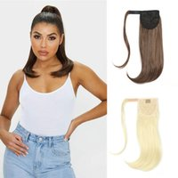 Synthetic Wigs Bounce Wraparound Ponytail Straight Hairpieces With Clip In Hair Drawstring Natural Black