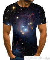 2020 Moda CALIENTE CALIENTE 3D Hombres Mans Mans Verano Impresión Ciencia Ficción Noche Aurora T-shirt 3D Psychedélico Camiseta S-6XL