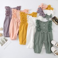 Summer Ins Infant Baby Girls Sleeveless Cute Rompers Jumpsuits Headband 2pcs Kids Set Children Outfits Clothing Suits