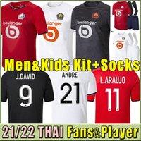 Tailandia 2021 2022 LOSC LLELE SOCCER JERSEYS KITS KIT CAMISETAS DAVID FONTE BAMBA YAZICI Camisa de fútbol 22 Olympique Jikone 10 # Maillot Hommes Enfants Third Balck