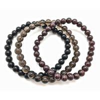 Tennis Mens Stackable Bracelet Set Healing Stone Elastic Bracelets 6mm Garnet Black Onyx Smoky Q-uartz Beaded Of 3