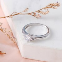 Wedding Rings Kettingen 2021 Arrived Fashion Glass Rhinestone Ring Man-made Crystal Diamond Silver Jewelry Accessories For Women