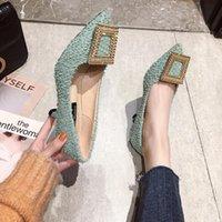 Dress Shoes Fashion Buckle Pumps Women High Heel Elegant Rhinestone Ladies Office Pointed Toe Party Wedding ZZ185