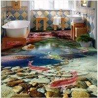 Shuhiko индивидуальные крупномасштабные фрески 3D HD естественный поток воды произведен девять рыбных пола декоративная живопись обои
