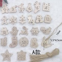 Factory Outlet Party decoration Creative wood chip digital Decoration Christmas Tree Pendant 1 to 24 numbers