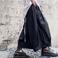 Calças masculinas Slouchy Casual Wide-Leg Nine-Minute Culottes Japonês Yamamoto Style Street Hip-Hop Shorts