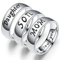Jewelry Band Ring engraved with Mom Dad Daughter Son I Love You Ring Pendant Gifts For Family Member Ring Size 6-13