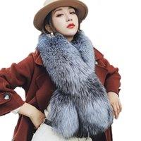 겨울 모피 스카프 칼라 여성 진짜 전체 목장 솜털 슈퍼 따뜻한 부드러운 실버 / 블루 스카프