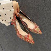 Luxury Dress Shoes 818-8 Wedding Female 2021 Red High Thin Heels Bride Chine Xiuhe Sho Short Heels