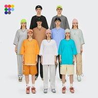 Инфляция Летнее Новый стиль Унисекс повседневная простые футболки экипаж из шеи хлопок негабаритные тройники мужчины мода хип-хоп футболки 0057s21 210325