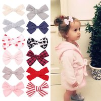 Girls Hair Accessories Kids Hairclips Bb Clip baby Barrettes Clips Bowknot Childrens Cute Flower Bow Leopard Striped B7557