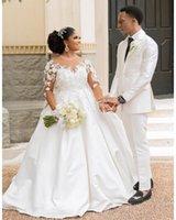 Elegant White 3D Floral A Line Wedding Dresses Bridal Gowns With Nude Long Sleeves Beads African Jewel Neck Satin Chapel Garden Bride Dress Plus Size 2021 robe de mariée