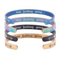 6 kleuren mode gepersonaliseerde letter armband arrow roestvrij staal inspirerende armbanden houden neuken going manchet armband groothandel fj877