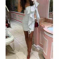 Styles Elegant Party Sexy Vintage Women One Shoulder Ruffles Mini Dresses Bodycon Female Maxi Red Dress Casual