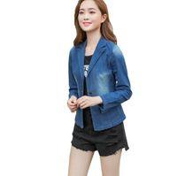Women's Suits & Blazers 2021 Womens Short Design Blue Denim Blazer Women Plus Size Slim One Button Jeans Jacket Spring Autumn Casual Outerwe